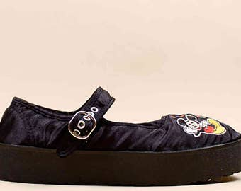 80s 90s Vtg rare DISNEY Mickey Mouse Embroidered Black SATIN Mary Jane Platform Flats 7 Eu 37.5