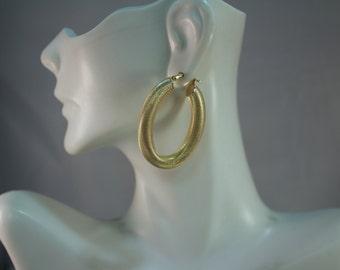 1980's 14kt Yellow Gold Mesh Hoop Earrings