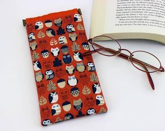 Fabric Glasses Case, Glasses Sleeve, Padded Glasses Case, Owls Orange
