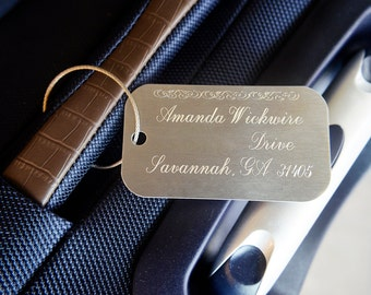 Engraved Luggage Tags - Aluminum Suitcase Tags - Address Phone Number Personalized Information - Gifts for Him or Her - Newlyweds Customized