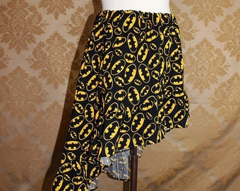 "HALF OFF SALE High Low Mini Cecilia Skirt -- Black/Yellow Bat Symbols -- Ready to Ship -- Fits Up To 38"" Waist"