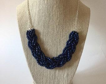 Navy Blue Beaded Braid Necklace