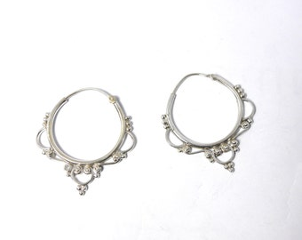 Silver filagree  detailed hoops