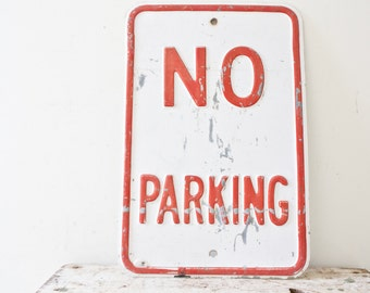 No Parking Alley Tow Red Sign Vintage White Embossed