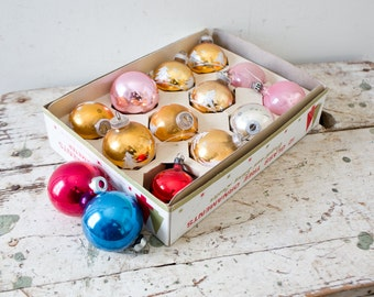 Vintage Pink Red and Blue Glass Ornaments - Christmas Tree Ornaments Colorful Various Inserts Great for Aluminum Tree Pink Blue Red Lot
