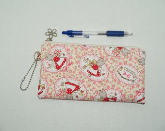 "Padded Zipper Pouch / Pencil Case / Cosmetic Bag Made with Cotton Oxford Fabric ""Marron Cream"""