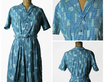 1950s Cotton Novelty Print Dress with Rhinestone Buttons