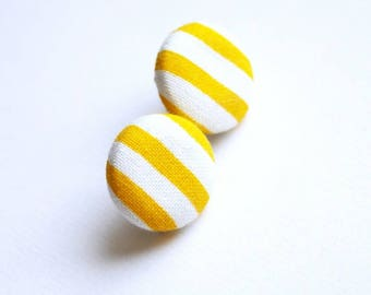 Fabric covered button earrings, yellow and white stripes, retro stud earrings