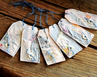 Patchwork Fabric Tags, Tattered Gift Wrap Package Labels, Primitive Old Quilt Tie Ons, Everyday All Occasion Tags, Set of 6 itsyourcountry