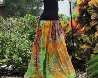 ON SALE Gypsy Skirt, Tie Dye Skirt, Maxi Skirt, Bohemian Skirt, Festival Clothing, Fall Skirt, Sequin Skirt, Indian Skirt, Boho Clothing, Lo