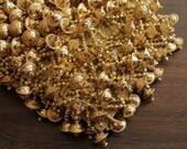 1 Yard Golden Tasseled Fabric Trim-Hanging Beads Trim on Fabric Trim-Silk Sari Border-Crazy Quilt Fabric Trim-Holiday Decoration-X10008