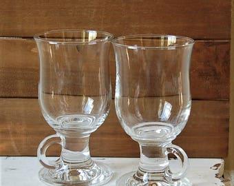Clear Glass Irish Coffee Mugs Pedestal Set of 2
