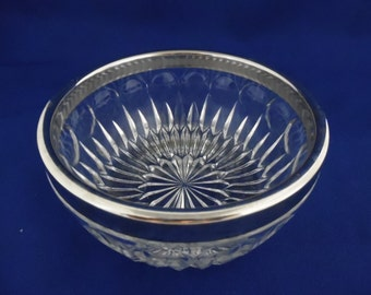 Small Round Serving Dish, Clear Glass with Silver Rim, Vintage Dip, Sauce, Vegetable Bowl