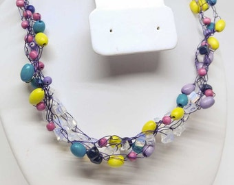 Fun Bright Colored Necklace - Wood