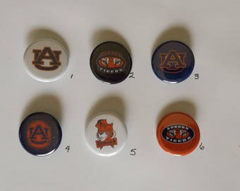 """Auburn Tigers Pin Back Buttons 1.25"""""""