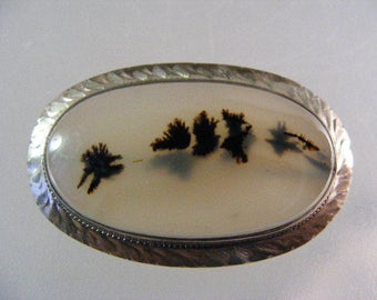 Antique Estate Victorian Montana Plume Agate  Sterling Silver  Brooch Pin .....  Lot 5181