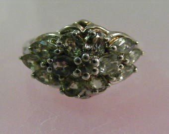 Vintage Moldavite Multi Stone Ring in Sterling Silver..... Lot 5255