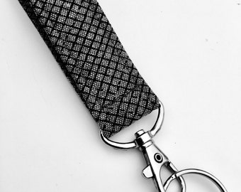 Handmade Linen Keychain, Key Fob, Wristlet Lanyard, Fabric Wristlet, Grey and Black