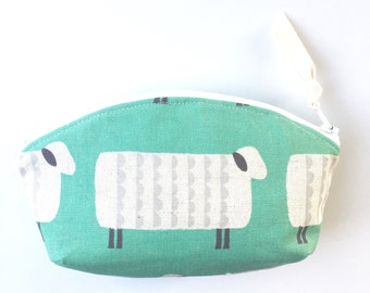 Sheep Linen Zipper Pouch, Linen Cosmetic Bag , Teal and Grey