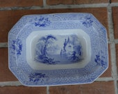 antique ironstone transfer ware blue J Meir & Sons bowl Roselle 1840's vintage