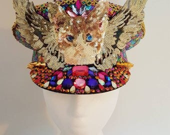 Cat with wings military all over rainbow multicoloured gold sequin stud gemstone rhinestone hand decorated handmade festival hat burning man