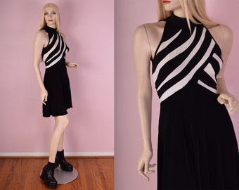 90s Tadashi Black and White Striped Dress/ Small/ 1990s