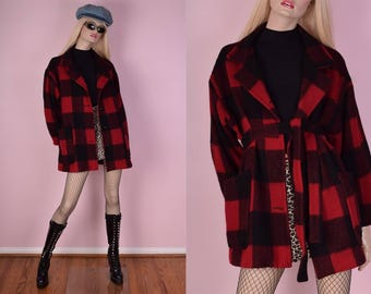 70s Black and Red Buffalo Plaid Wool Coat/ Large/ 1970s/ Jacket