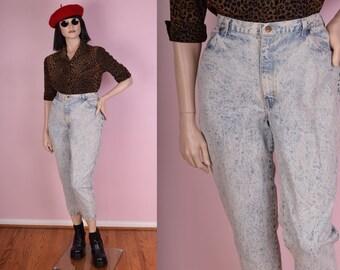 80s High Waisted Acid Wash Jeans/ 34 Waist/ 1980s