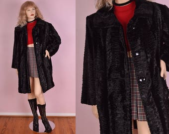 90s Black Faux Persian Lamb Coat/ XXL/ 1990s/ Jacket/ Faux Fur