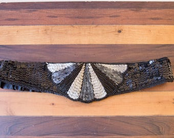 80s Beaded Deco Statement Belt Size Small