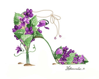 Purple Violets with Ankle Chain Strap Flower Shoe Print  2008 rev. 2016 - Signed & Enhanced with Paint. Free Shipping