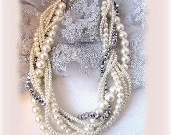 Twisted braided pearl necklace, Wedding jewelry set, bridal jewelry set, bridesmaids jewelry set, bridal earrings, Ivory bridesmaid necklace