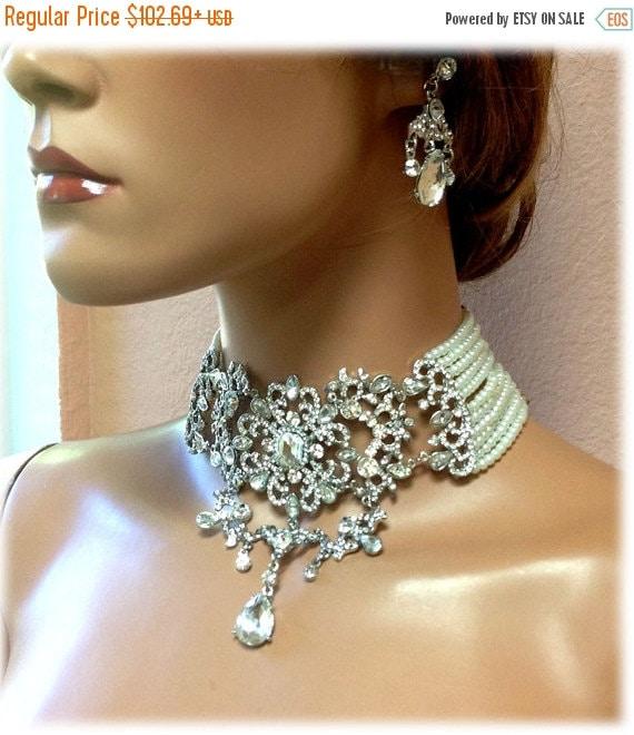 bridal jewelry bridal choker statement necklace by glamduchess