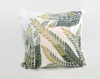 Green Leaf Print Pillow Cover 18 Inch Square Upcycled 18 X 18