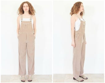 90s Taupe Corduroy Overalls / Size Small