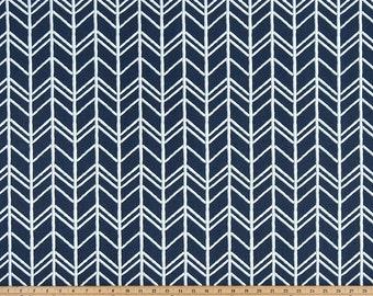 Navy White Herringbone Modern Curtains Bogatell, Rod Rocket  63 72 84 90 96 108 120 Long x 25 or 50 Wide