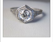 HOLDING --Antique Art Deco Platinum Old European Cut Diamond .54 Ct. VS Filigree Engagement Ring