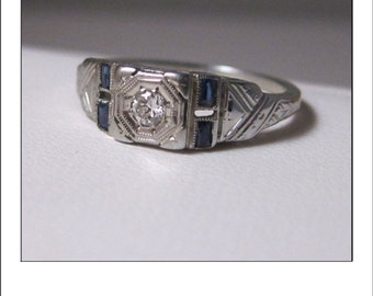 Antique Art Deco 14k  Sapphire Diamond Engraved Engagement Ring