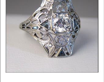 Antique Art Deco 18k .60 Ct. Diamond Sapphire Filigree Engagement Dinner Ring