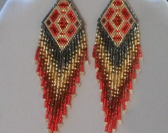 Native American Style Beaded Geometric Earrings in Red, Gold Southwestern, Boho, Brick Stitch, Loom, Gypsy Hippie, Peyote, Great Gift
