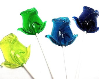 12  ROSE LOLLIPOPS - Pick Any Color and Flavor