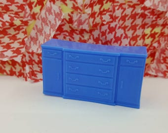 Marx Dining room  Sideboard  Toy Dollhouse Traditional Style Blue Soft  plastic