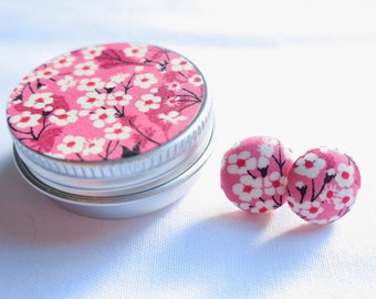 Liberty London Earrings or Cuff Links in matching tin. Pink Mitsi Valeria daisy meadow 15mm fabric buttons. Mother's Day Gift.
