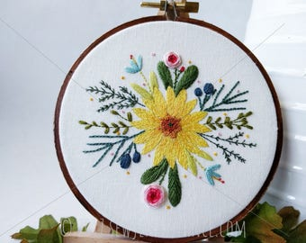 Sunflower Roses Leaves Botanical Home Decor Hand Stitched Original Embroidery Hoop Art Wall Hanging