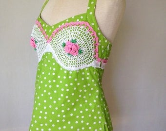 The Devil Made Me Do It summer top upcycled refashioned clothing sleeveless green pink white halter top vintage crochet lace