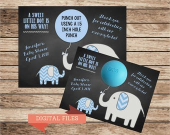 Elephant Baby Boy Shower Gift Tags,EOS lip balm gifts,Thank You Tags,Shower Favors,elephant theme,blue baby boy favor cards,fun shower ideas