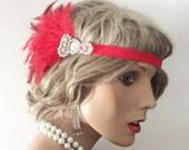 Red Flapper headpiece flappper headband 1920's headband headpiece Art Deco rhinestone headpiece Gatsby headpiece