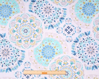 Two  96 x 50 Custom LINED Curtain Panels  - Large Floral Rounds - Azure Peacock Blue Citrine Grey