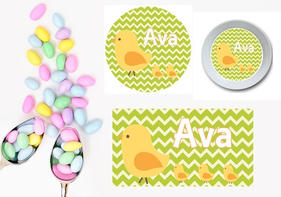 Easter Chicks Plate/Bowl/Placemat . Personalized Plate/Bowl/Placemat . Easter Plate/Bowl/ Placemat