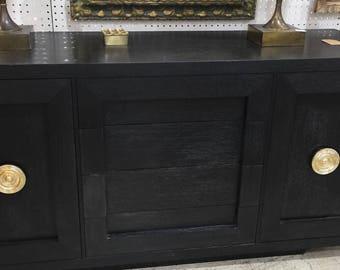 Mid-Century Black Cerused Oak Cabinet Credenza
